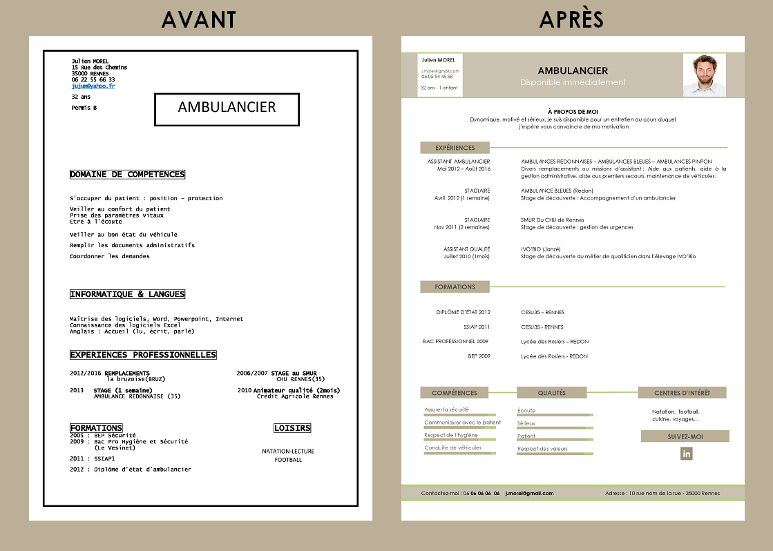 cv ambulancier exemple